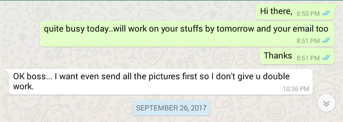 WhatsApp Business Meeting with a Customer